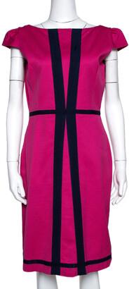 Carolina Herrera Pink Textured Cotton Blend Cap Sleeve Dress M