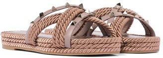 Valentino Rockstud Torchon leather espadrille sandals