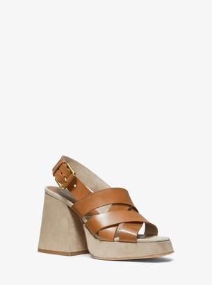 Michael Kors Estella Calf Leather Platform Sandal