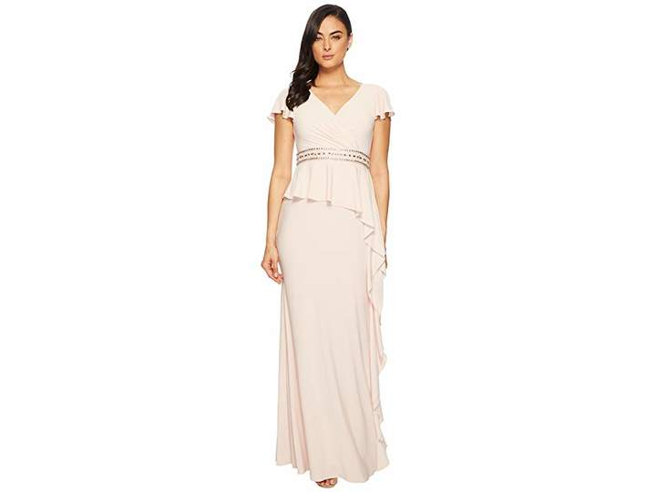 Adrianna Papell Short Sleeve Draped Jersey Gown with Beaded Waist and Asymmetrical Peplum Women's Dress