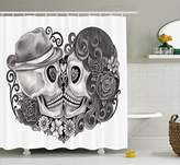 Ambesonne Gothic Decor Collection, Art Skull with Hat All Saints Day Mexico Culture Festival Floral Illustration, Polyester Fabric Bathroom Shower Curtain Set with Hooks, Grey White Black