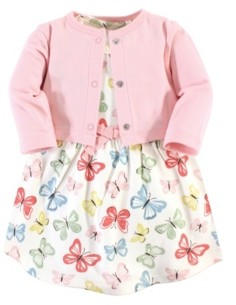 Touched by Nature Organic Cotton Dress and Cardigan Set, Butterflies, 5 Toddler