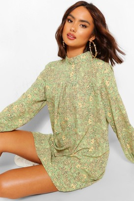 boohoo High Neck Ditsy Print Smock Dress
