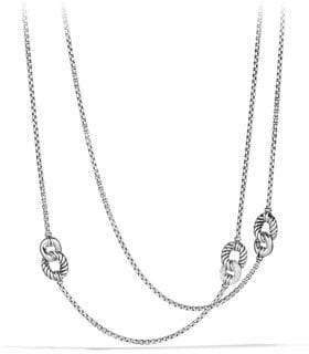 David Yurman Belmont Curb Link Four Station Necklace with Diamonds