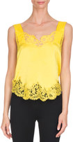 Givenchy Lace-Trim Silk Cami Top, Yellow