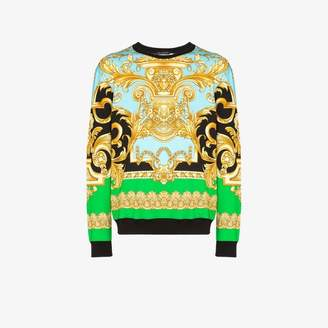 Versace baroque print cotton sweatshirt