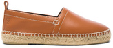Loewe Contrast Stitching Leather Espadrilles in Brown.