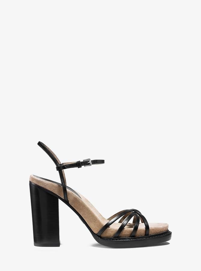 Michael Kors Raina Vachetta Leather and Suede Platform Sandal