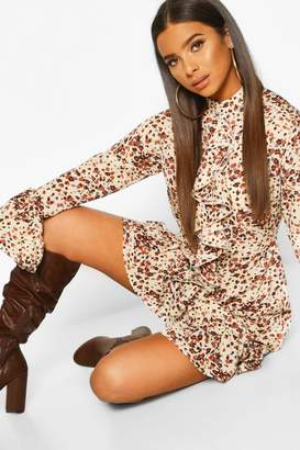 boohoo Animal Print High Neck Ruffle Swing Dress