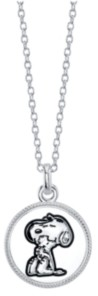"""Peanuts Snoopy and Woodstock Fine Plated Silver """"Forever Friends"""" Pendant Necklace, 16"""" + 2"""" Extender for Unwritten"""