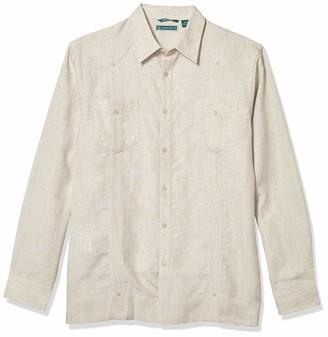Cubavera Men's Long Sleeve 100% Guayabera Shirt with Two Top Pockets