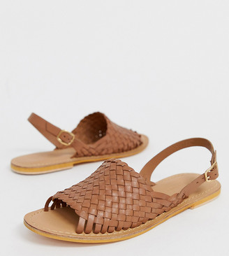 Asos DESIGN Wide Fit Fraction leather woven flat sandals