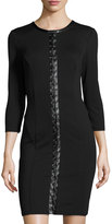 Neiman Marcus Fitted Lace-Up Dress, Black