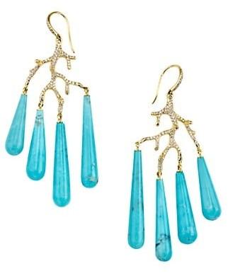 Ippolita Rock Candy 18K Yellow Gold, Turquoise & Diamond Coral Reef Teardrop Earrings