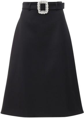 Giuseppe di Morabito Gabardine Midi Skirt W/ Jewel Buckle