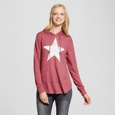 Modern Lux Women's Star Brushed Pullover Hoodie Red - Modern Lux (Juniors')