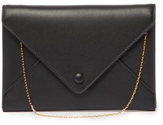 The Row Envelope Small Leather Clutch - Black