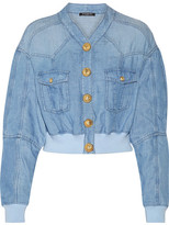 Balmain Cropped Chambray Bomber Jacket - Light denim
