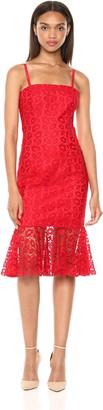 Milly Women's Kiss Lace Spaghetti Strap Slim Grace Dress with Flounce Hem