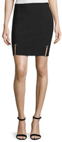 Thierry Mugler Pierced-Hem Mini Skirt, Black