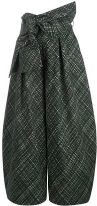 Rosie Assoulin Check Patterned Tie Waist Skirt