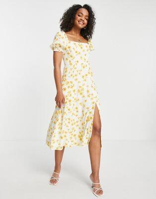 Forever New short sleeve midi tea dress in buttercup print