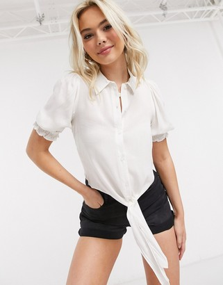 Miss Selfridge shirred front shirt in ivory