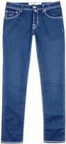 Jacob Cohën Blue Contrast-stitch Slim-leg Jeans