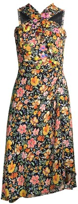 Kobi Halperin Steph Embellished Floral Halter Dress
