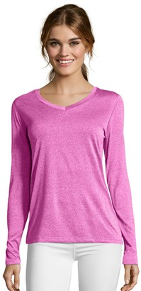 Hanes Women's Cool Dri Long-Sleeve Performance V-Neck Tee