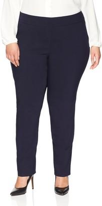 Lark & Ro Women's Plus Size Straight Leg Stretch Pant: Comfort Fit