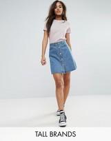 Noisy May Tall Button Front Denim Mini Skirt