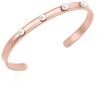 Majorica Circle White Round Faux Pearl & Stainless Steel Bangle
