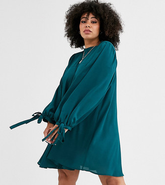 Asos DESIGN Curve mini high neck swing dress with tie sleeves-Green