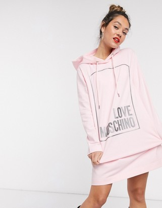 Love Moschino classic box logo hooded dress in pink