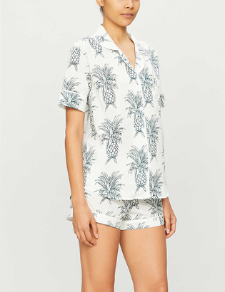 Desmond & Dempsey Howie pineapple-print organic cotton pyjama set