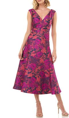 Kay Unger New York Charlotte Sleeveless Floral Jacquard Midi Dress