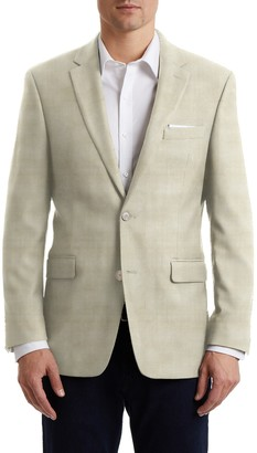 Hart Schaffner Marx Cream Plain Two Button Notch Lapel New York Fit Sports Coat