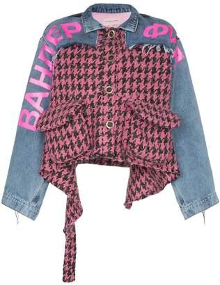 Natasha Zinko houndstooth panel denim combo jacket