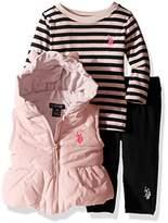U.S. Polo Assn. Baby Girls' 3 Piece Puffer Vest