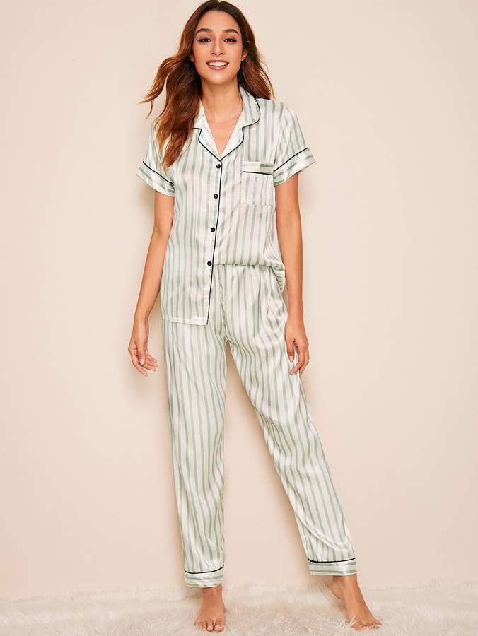 513b2e4d168 Striped Satin Shirt With Pants PJ Set