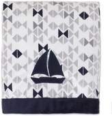 Nautica Mix & Match Velboa Sailboat Blanket in Navy/Grey