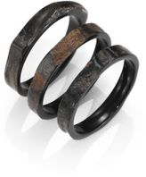 Nest Rough Horn Three-Bangle Bracelet Set