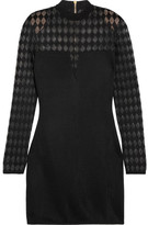 Balmain Paneled Stretch-crepe Mini Dress - Black