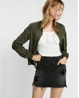 Express mid rise black destroyed denim mini skirt