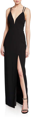 Aidan Mattox V-Neck Strappy-Back Crepe Gown
