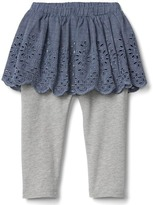 Gap Eyelet chambray skirt legging duo