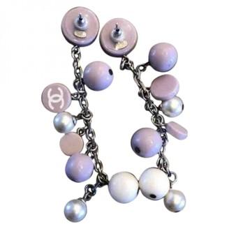 Chanel Purple Plastic Earrings
