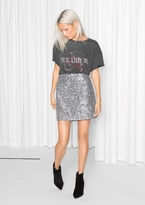 Other Stories Silver Sequin Skirt