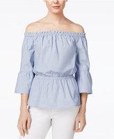 Kensie Oxford Cotton Off-The-Shoulder Top